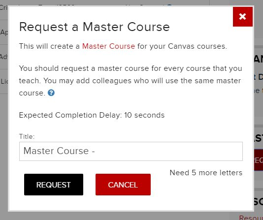 Request a master course dialogue box in Carmen