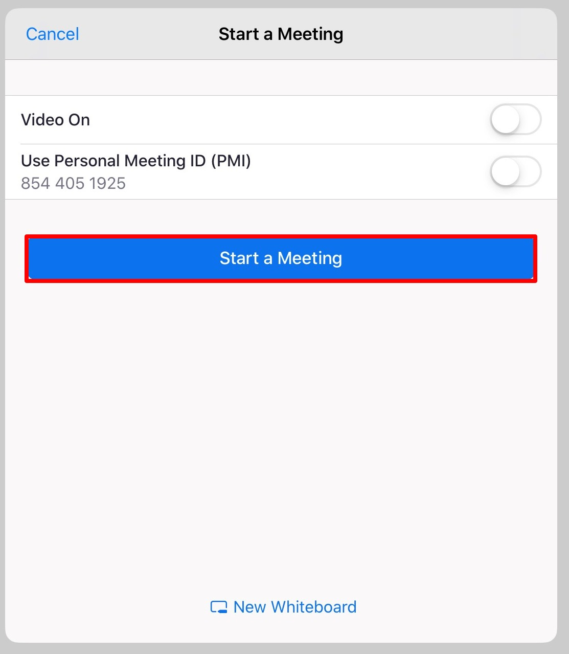 Video On and Use Personal ID options under Start a Meeting settings on iPad Zoom app