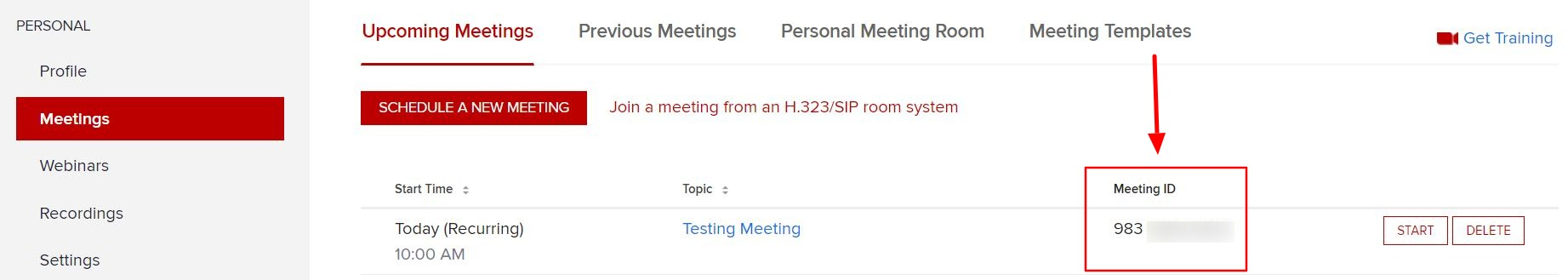 Meeting ID column located on right side of screen under the Upcoming Meetings tab