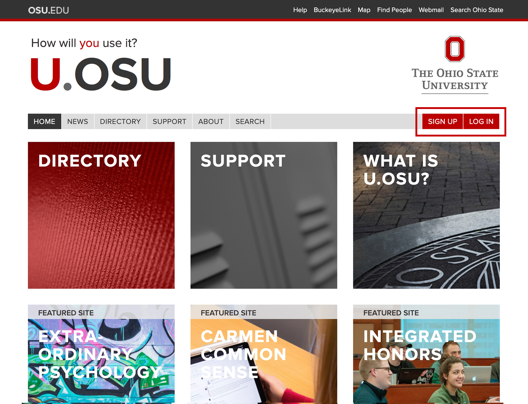 Sign Up and Log In buttons on U.OSU home page