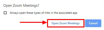 Open Zoom Meetings button