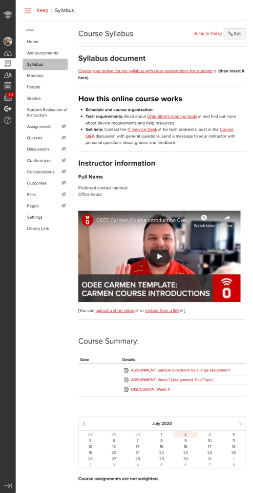 Keep Teaching Carmen Course Template syllabus page